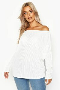 Womens Plus Oversized Rib Long Sleeve T-Shirt - White - 26, White