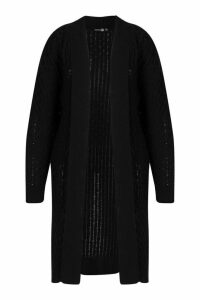 Womens Plus Chunky Honeycomb Waterfall Cardigan - black - 18, Black
