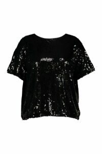 Womens Plus Sequin Split Back T-Shirt - black - 16, Black