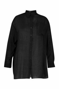 Womens Plus Sheer Oversized Boyfriend Shirt - black - 16, Black