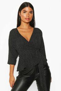 Womens Petite Woven Ditsy Polka Dot Kimono Wrap Blouse - black - 14, Black