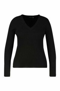 Womens Plus Ribbed V-Neck Jumper - black - 20, Black