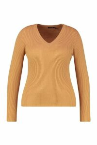 Womens Plus Ribbed V-Neck Jumper - Beige - 18, Beige