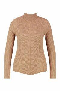 Womens Plus Rib Knit Roll Neck Jumper - beige - 24, Beige