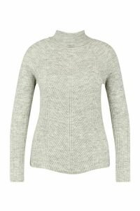 Womens Plus Rib Knit Roll Neck Jumper - grey - 24, Grey