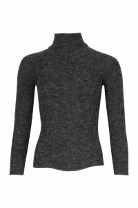 Womens Petite Rib Knit Roll Neck Jumper - Black - M, Black