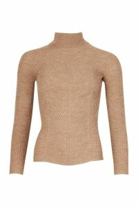 Womens Petite Rib Knit Roll Neck Jumper - beige - L, Beige