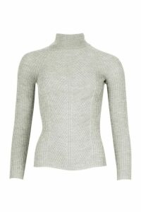 Womens Petite Rib Knit Roll Neck Jumper - grey - M, Grey