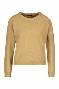 Womens Petite Boxy Scoop Neck Jumper - beige - M, Beige