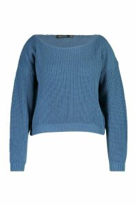 Womens Plus Slash Neck Fisherman Jumper - slate blue - 20, Slate Blue