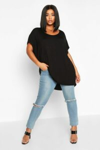 Womens Plus Oversized T-Shirt - black - 24, Black