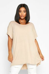 Womens Plus Oversized T-Shirt - beige - 24, Beige