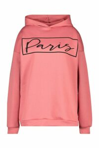 Womens Plus Paris Slogan Oversized Hoody - pink - 18, Pink