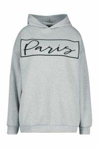 Womens Plus Paris Slogan Oversized Hoody - grey - 18, Grey