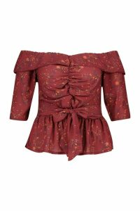 Womens Plus Off The Shoulder Ruched Belted Floral Top - red - 18, Red