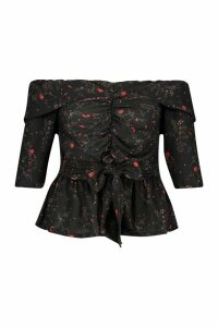 Womens Plus Off The Shoulder Ruched Belted Floral Top - black - 20, Black