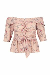 Womens Plus Off The Shoulder Ruched Belted Floral Top - pink - 24, Pink