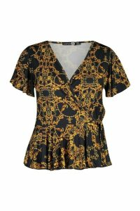 Womens Plus Chain Print Wrap Peplum Top - black - 26, Black