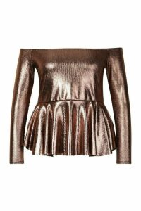 Womens Plus Metallic Off The Shoulder Peplum Top - brown - 16, Brown