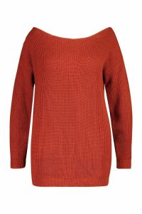 Womens Plus Slash Neck Longline Jumper - brown - 18, Brown