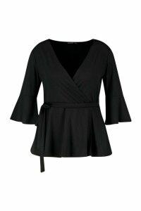 Womens Plus Rib Flare Sleeve Peplum Top - black - 20, Black