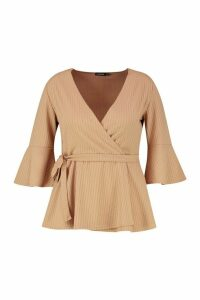 Womens Plus Rib Flare Sleeve Peplum Top - beige - 18, Beige
