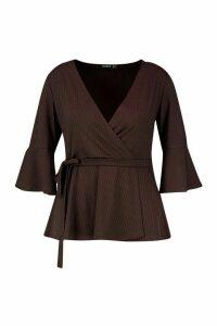 Womens Plus Rib Flare Sleeve Peplum Top - brown - 28, Brown