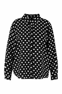 Womens Plus Heart Print Utility Shirt - black - 24, Black