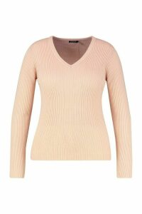 Womens Plus Ribbed V-Neck Jumper - Pink - 20, Pink