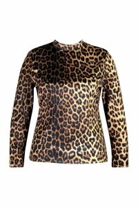 Womens Plus Leopard Velvet High Neck Longsleeve Top - brown - 20, Brown