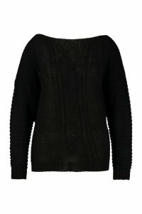 Womens Plus Cable Knit Slash Neck Jumper - black - 24/26, Black
