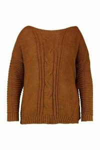 Womens Plus Cable Knit Slash Neck Jumper - brown - 24/26, Brown
