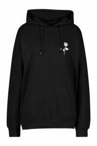 Womens Petite Rose Pocket Print Hoodie - black - M, Black