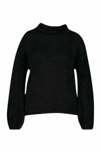 Womens Plus Super Soft Knitted Roll Neck Jumper - black - 24, Black