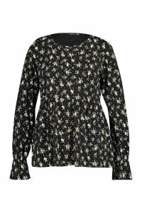 Womens Plus Dark Ditsy Floral Longsleeve Peplum Top - black - 24, Black