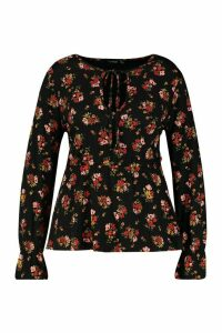 Womens Plus Dark Floral Keyhole Peplum Top - black - 20, Black
