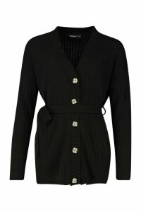 Womens Petite Rib Knitted Belted Cardigan - black - 14, Black