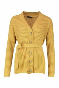 Womens Petite Rib Knitted Belted Cardigan - beige - 12, Beige