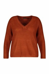 Womens Plus Fisherman Rib V Neck Jumper - Brown - 16, Brown