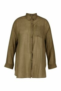 Womens Plus Sheer Oversized Boyfriend Shirt - green - 20, Green