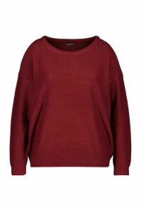 Womens Plus Boxy Scoop Neck Jumper - red - 22, Red