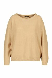 Womens Plus Boxy Scoop Neck Jumper - beige - 18, Beige