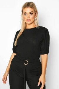 Womens Plus Jumbo Rib Puff Shoulder Top - black - 16, Black
