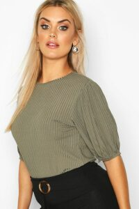 Womens Plus Jumbo Rib Puff Shoulder Top - green - 16, Green
