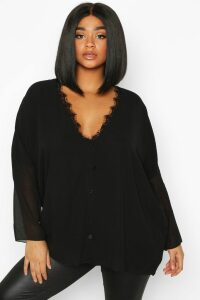 Womens Plus Lace Trim Long Sleeve Blouse - black - 24, Black
