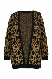 Womens Plus Jacquard Animal Print Cardigan - brown - 24/26, Brown