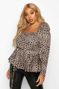 Womens Plus Bardot Self Belt Leopard Print Peplum Top - Brown - 22, Brown