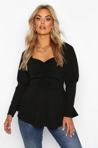 Womens Plus Ruched Bust Puff Sleeve Peplum Top - black - 20, Black