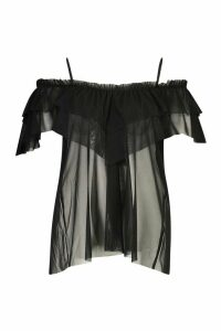 Womens Plus Cold Shoulder Ruffle Mesh Top - black - 22, Black