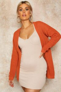 Womens Plus Edge To Edge Waffle Knit Cardigan - Beige - 20, Beige
